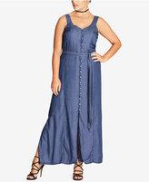 City Chic Trendy Plus Size Denim Longline Maxi Dress