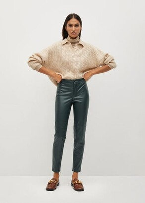 MANGO Slim-fit faux leather trousers