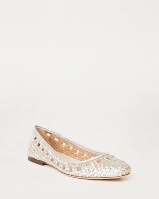 Loeffler Randall Maura Woven Leather Ballet Flat Silver