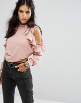 Glamorous High Neck Cold Shoulder Sweatshirt With Ruffle Trims
