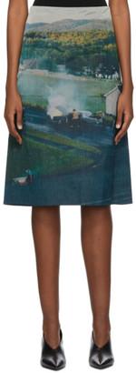Namacheko Blue and Green Silk Gregory Mid-Length Skirt