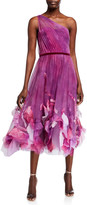 Marchesa One-Shoulder Ombre Printed Textured Tulle Midi Dress