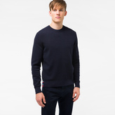 Men's Navy Cotton-Blend Textured-Knit Sweater