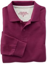 Charles Tyrwhitt Wine Long Sleeve Pique Cotton Polo Size Large