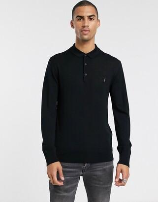 AllSaints 100% merino wool polo in black