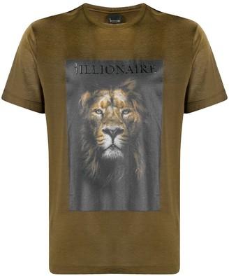 Billionaire lion-print cotton T-shirt