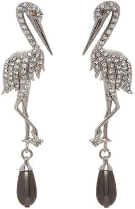 Erdem Silver Crystal Crane Earrings