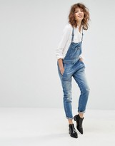 7 For All Mankind Slim Overalls With Rips And Distressing