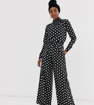 Verona wide leg pants in polka dot two-piece-Black