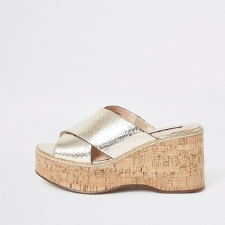 River Island Gold metallic cross vamp wedges