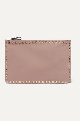 Valentino Garavani The Rockstud Large Leather Pouch - Blush