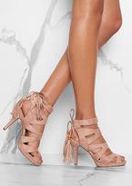 Missy Empire Valentina Dusty Pink Suede Cutout Tassel Detail Heels