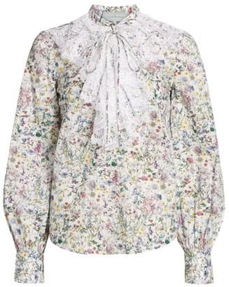 Silvia Tcherassi Meg Lace Ruffle Floral Shirt