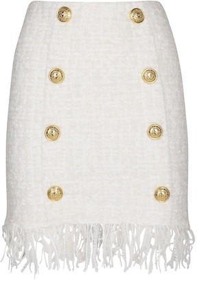 Balmain Double-Breasted Fringed Tweed Mini Skirt