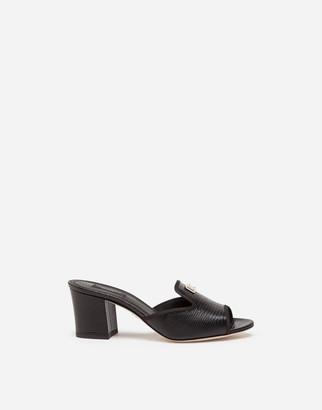 Dolce & Gabbana Iguana-Print Calfskin Mules