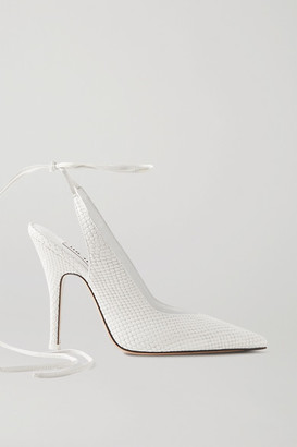 ATTICO Venus Snake-effect Leather Pumps - White