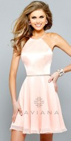 Faviana Satin Halter A-line Prom Dress