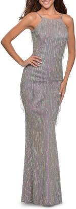 La Femme Sequin Fringe Open Back Gown