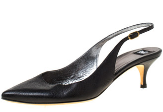 Dolce & Gabbana Black Leather Pointed Toe Slingback Pumps Size 38.5