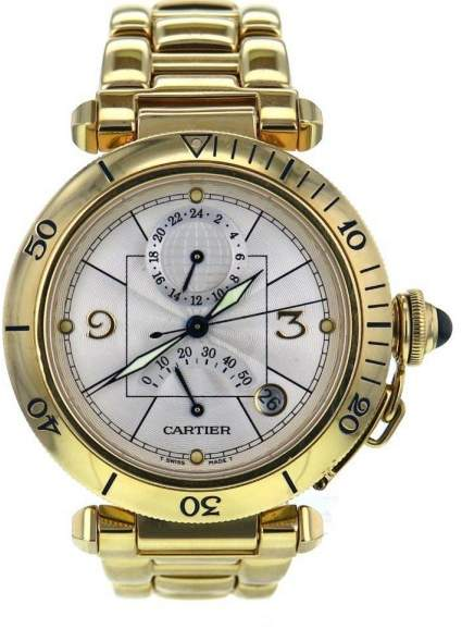 Cartier Pasha 2395 18K Yellow Gold Silver Dial Automatic 38mm Mens Watch 2007