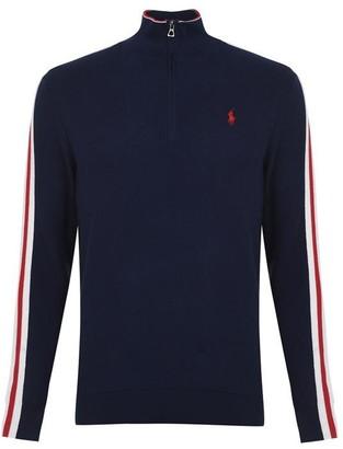 Polo Ralph Lauren Polo Half Zip Striped Sleeve Sweater