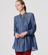 LOFT Chambray Ruffle Tunic Softened Shirt