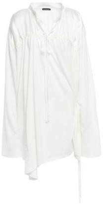 Ann Demeulemeester Gathered Paneled Cotton-jersey And Satin Mini Dress