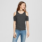Mossimo Women's Rib Cold Shoulder Tank Black and White Stripe