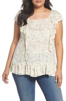 Lucky Brand Plus Size Women's Knit & Woven Ruffle Top