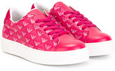 Armani Junior logo sneakers - kids - Cotton/Leather/rubber - 28