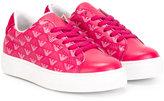 Armani Junior logo sneakers - kids - Leather/Cotton/rubber - 28