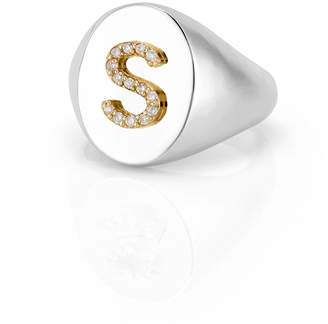 Sarah Chloe Personalized Kari Signet Diamond Initial Ring