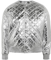 Saint Laurent Quilted Metallic Leather Bomber Jacket - Silver