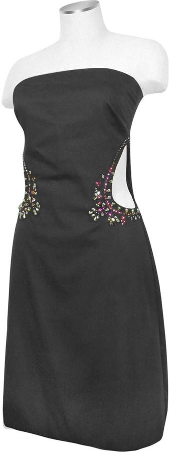 Hafize Ozbudak Black Crystal Decorated Cut Out Strapless Dress