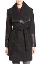 Women's Belle Badgley Mischka 'Lorian' Faux Leather Trim Belted Asymmetrical Wool Blend Coat