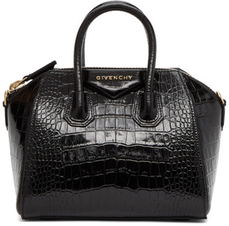 Givenchy Black Croc Mini Antigona Bag