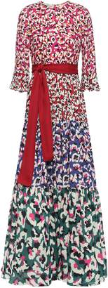 Mary Katrantzou Kew Belted Printed Georgette Maxi Dress