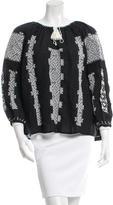 Nili Lotan Embroidered Tassel-Trimmed Top w/ Tags