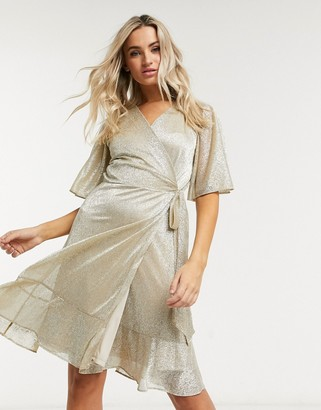 Style Cheat sparkle mini wrap dress in gold