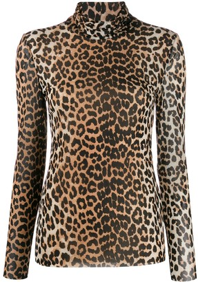 Ganni Mesh Leopard Top