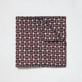 River Island MensRed geo print pocket square