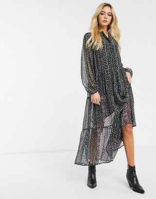 Pieces maxi smock dress in ditsy floral-Black
