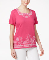 Alfred Dunner Petite Reel It In Embroidered Top