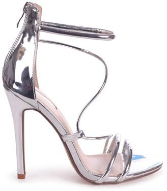 Linzi CORINNA - Silver Metallic Strappy Caged Stiletto Heel With Ankle Strap