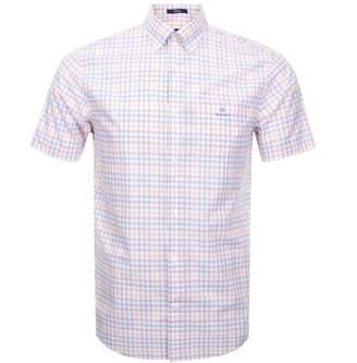 Gant Short Sleeved Tattersall Shirt White