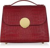 Croco Le Parmentier Bombo Embossed Leather Top-Handle Satchel Bag w/Stap