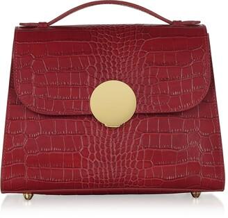Croco Bombo Embossed Leather Top-Handle Satchel Bag w/Stap