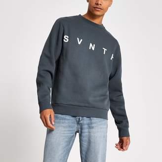 River Island Mens Blue Svnth embroidered crew neck sweatshirt