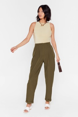 Nasty Gal Womens High-Waisted Tapered Pants with Pleats at Front - Khaki