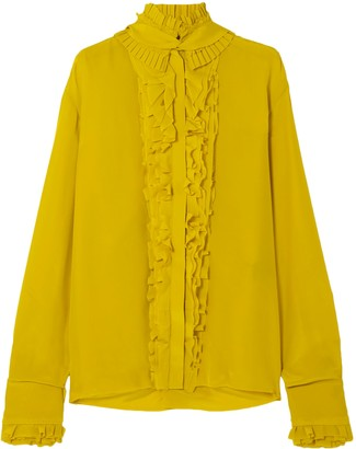 Haider Ackermann Pleated Ruffle-trimmed Silk Crepe De Chine Blouse